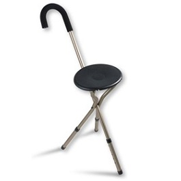 Folding Seat Cane with Adjustable Height - 225Lbs Capacity