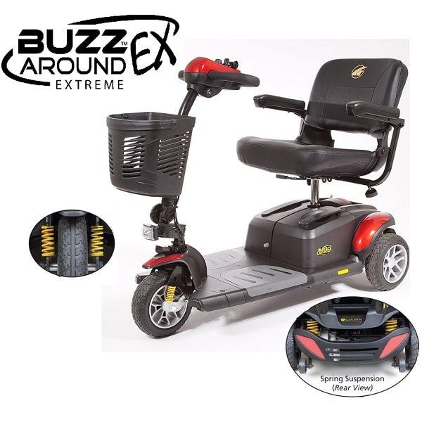 BuzzAround EX Full Size Portable Power Scooter 3 Wheel-330 Lb Ca