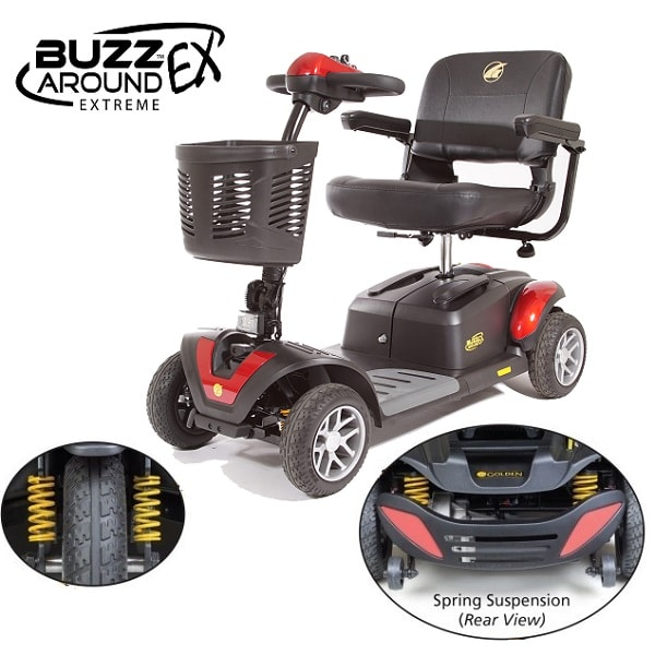 BuzzAround EX Full Size Portable Power Scooter 4 Wheel-330 Lb Ca
