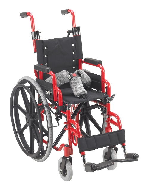 "12"" X 12"" Wallaby Pediatric Folding Wheelchair Red"