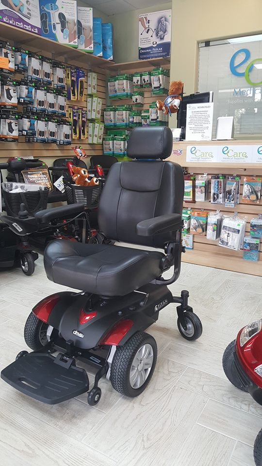 Titan Transportable Front Wheel Power Wheelchair, Full Back Capt