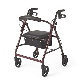 "Lightweight Rollator 6"" Wheels Rollating Walker-250 Lbs Cap"