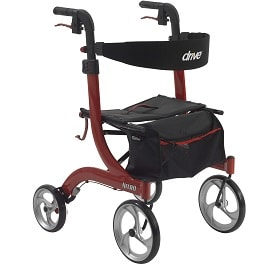 Nitro Euro Style Walker Rollator, Red - 300 Lbs Cap in Houston TX by Drive Medical