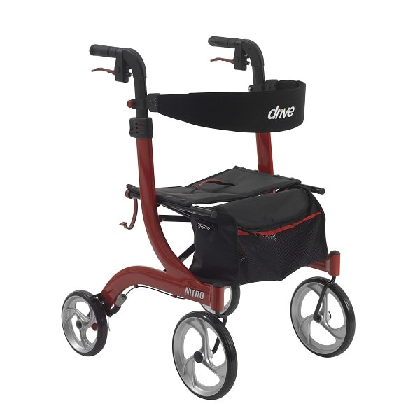 Tall Nitro Aluminum Rollator With Suspension System - 300 Lb Cap