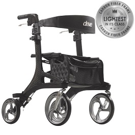 Luxury Carbon Fiber Ultra Light Nitro Elite Rollator 300 Lb Cap by Drive Medical