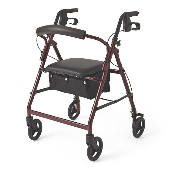 "Lightweight Rollator 6"" Wheels Rollating Walker Burgundy"
