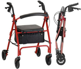 Rollator Vibe 6 Economy Rollating Walkern Red