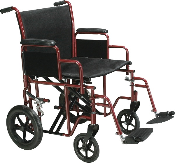 "22"" Wide Bariatric Transport Chair-450 Lbs Cap"