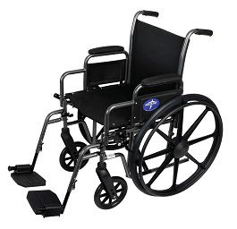 "18"" Wide K1 Basic Manual Wheelchair w/ Footrest-300 Lbs Cap."