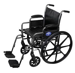 "18"" Wide K2 Basic Wheelchair w/ Footrest Vinyl-300 Lbs Cap"