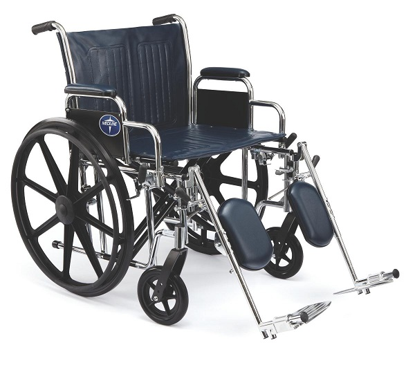 "22"" Medline Wide Wheelchair with Footrest"