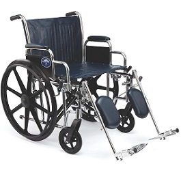 "22"" Medline Wide Wheelchair with Footrest-500 Lbs Cap"