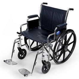"24"" Medline Wide Wheelchair with Footrest-500 Lbs Cap"