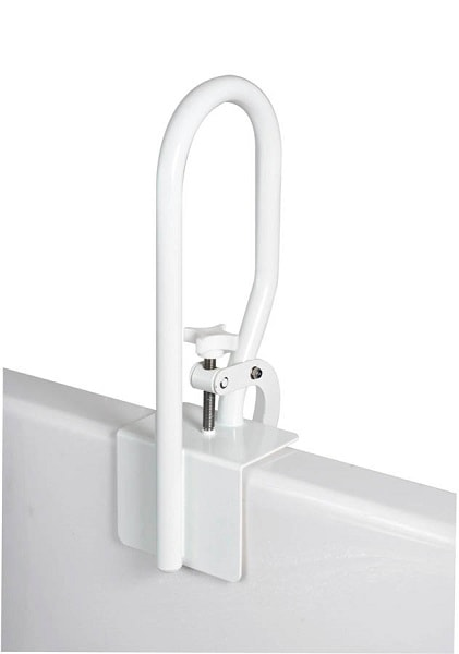 Mounting Clamp White Tub Rail and Grab Bar-200 Lbs Capacity