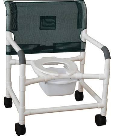 "PVC 18"" Shower Chair With Commode Bucket"