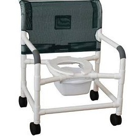 PVC 18 Inches Shower Chair With Commode Bucket and Wheels 300 Lbs Capaci in Houston TX by Medline