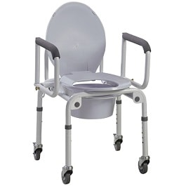 Drop Arm Commode With Wheels and Paddred Armrests - 300 Lbs Cap