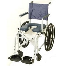 "16"" Wide Rehab Shower Commode Wheelchair - 300 Lbs Capacity"