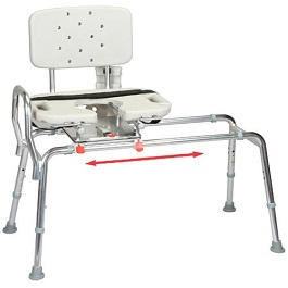 Sliding Transfer Bench & Swivel Seat with Cut Out-400 Lbs Cap.