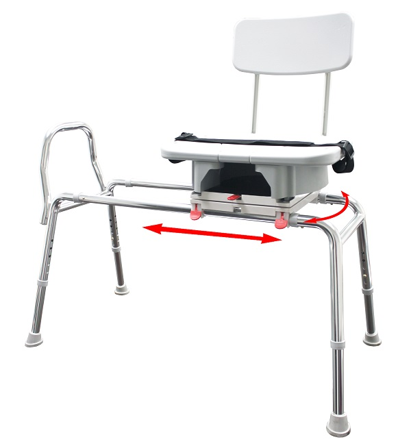 Sliding Tub Mount Transfer Bench With Swivel Seat and Back