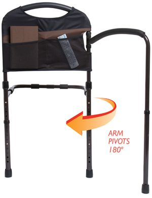 Stander Mobility Bed Rail with Pivoting Arm & Pockets