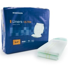 "Incontinence Liner 24.5"" Heavy Absorbency Disposable-CS/72 Count"