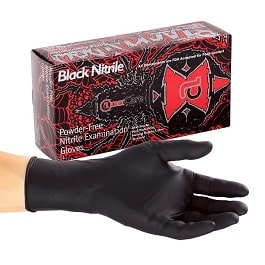 Nitrile Black Widow Gloves Small Powder Free   100 Count by AmerCare