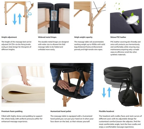 Portable & Adjustable Folding Massage Table