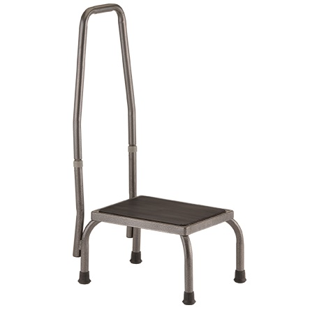 Lightweight Steel Step Stool With Hand Rail - 300 Lbs Cap